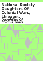 National Society Daughters of Colonial Wars, Lineage books :